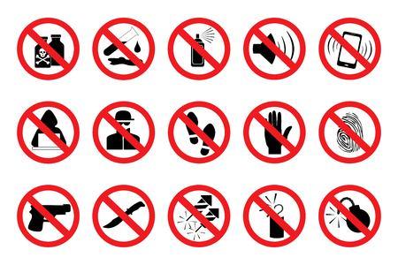 Illustration pour Prohibition Signs. Set red icons. Illustration of various prohibition signs. In isolation.  Vector - image libre de droit