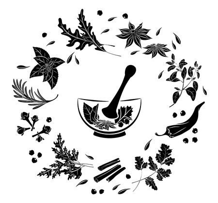 Ilustración de Herbs and spices in a mortar.  Isolated black silhouette  on a white background.  Menus of restaurants, cafes.  Element to decorate posters banners flyers. Vector illustration - Imagen libre de derechos