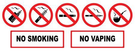 No smoking. No vaping. Set prohibition icons. Illustration of various prohibition signs. Iisolation. Vector