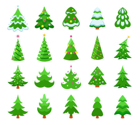 Illustration pour Christmas trees icons set. Various colorful green Christmas trees with snow and decorations, pines and coniferous trees. Collection of Christmas and New Year symbols. Isolated. Vector - image libre de droit