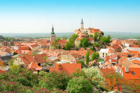 Mikulov historical town center viewed from above in spring