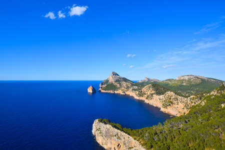 Cape Formentor peninsula view and deep blue sea on the island of Majorca in Spain