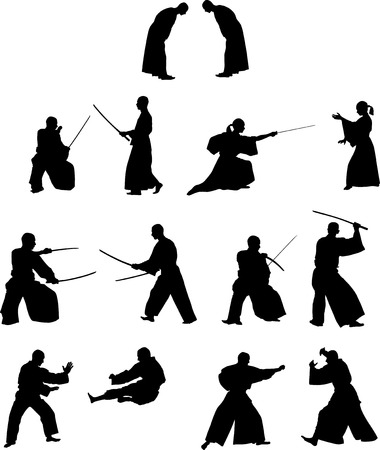 Many silhouettes of samurai combat with swords and without