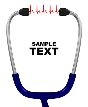 Stethoscope and cardiogram with copyspace isolated on white