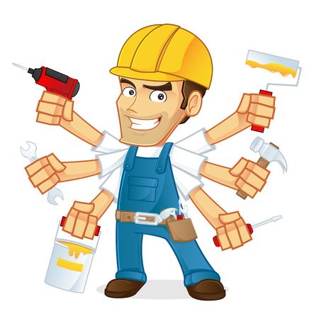 Illustration pour Handyman holding multiple tools - image libre de droit