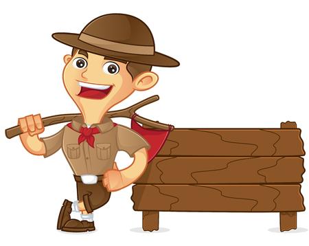 Ilustración de Boy scout cartoon leaning on wooden plank isolated in white background - Imagen libre de derechos