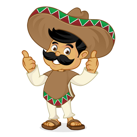 Illustration for Mexican man cartoon giving thumbs up isolated in white background - Royalty Free Image