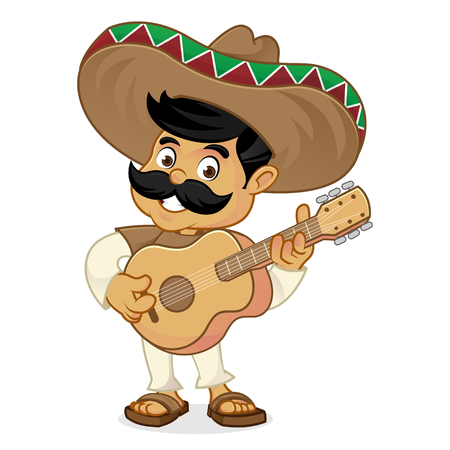 Mexican man cartoon playing guitar isolated in white background