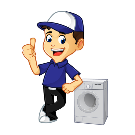 Illustration for Hvac Cleaner or technician leaning on washing machine cartoon illustration, can be download in vector format for unlimited image size - Royalty Free Image