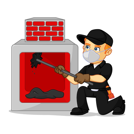 Chimney Sweeper cleaning fireplace cartoon illustration, can be download in vector format for unlimited image size