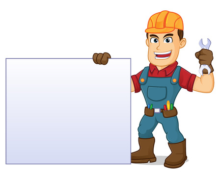 Illustration for hold blank sign and wrench cartoon illustration, can be download in vector format for unlimited image size - Royalty Free Image
