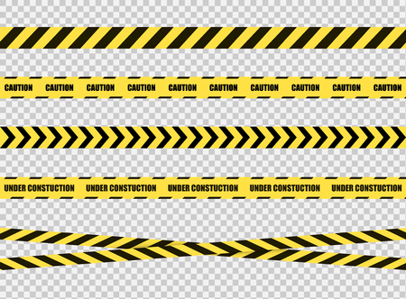 Illustration for Vector Stop Tapes Collection, Danger Zone Sign, Bright Yellow and Black Cross Lines on Transparent Background. - Royalty Free Image