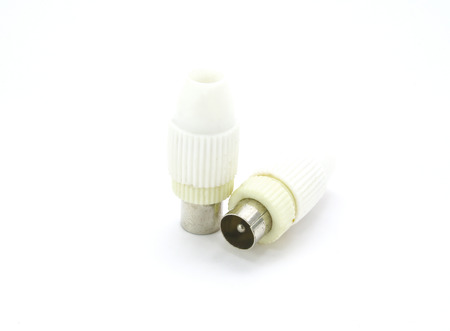 BNC connectors used for coaxial cable on white background