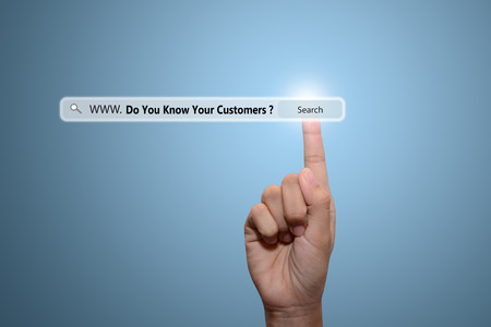 Business and technology, searching system and internet concept - male hand pressing Search Do You Know Your Customers ?