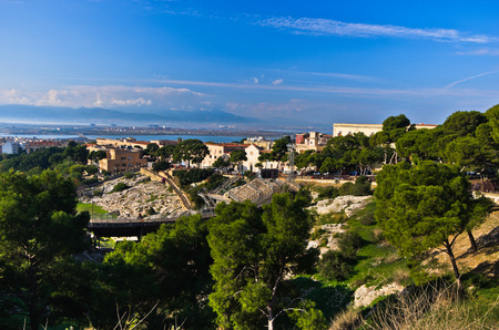 Viewpoint above old roman amphitheater in Cagliari, Sardinia, Italy