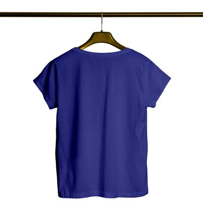 Photo pour Showcase your awesome design or logo with this Back View Short Sleeves Female TShirt Mock Up With Hanger In Royal Blue Color. - image libre de droit