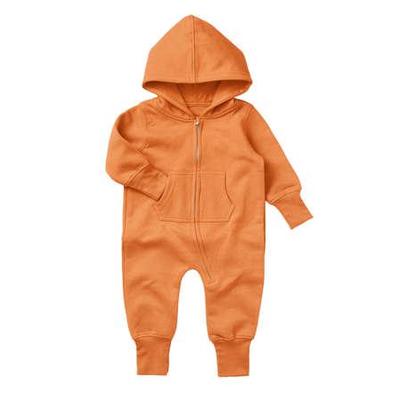 Foto de Give a professional touch to your design with this Front View Beautiful Baby Fleece Mock Up In Sun Orange Color. - Imagen libre de derechos