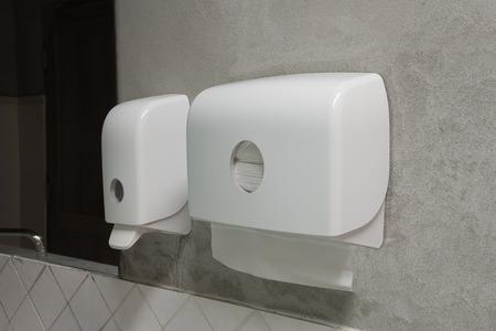 Liquid Soap Dispenser Pump and Paper Dispenser in public toilet