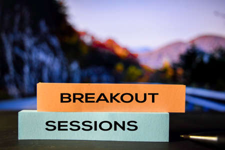 Photo pour Breakout Sessions on the sticky notes with bokeh background - image libre de droit
