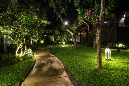 Photo pour abstract walkway in the garden in night - can use to display or montage on product - image libre de droit