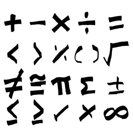 Vektor für Set of hand drawing black math symbol (Vector) - Lizenzfreies Bild