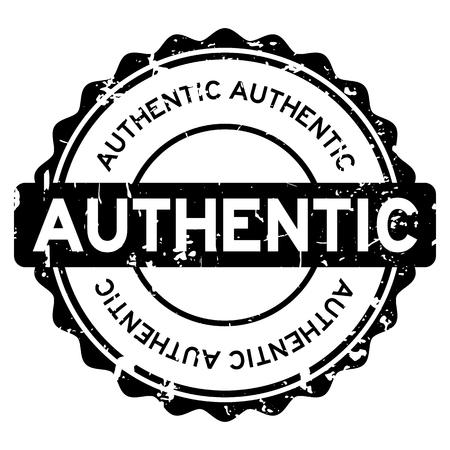 Ilustración de Grunge black authentic round rubber seal stamp on white background - Imagen libre de derechos