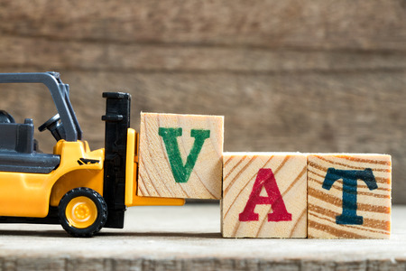 Toy plastic forklift hold block V to compose and fulfill wording VAT