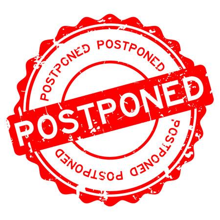 Ilustración de Grunge red postponed word round rubber seal stamp on white background. - Imagen libre de derechos