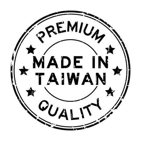 Illustration pour Grunge black premium quality made in Taiwan round rubber seal stamp on white background - image libre de droit