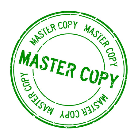 Grunge green master copy word round rubber seal stamp on white background