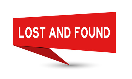 Illustration pour Red paper speech banner with word lost and found on white background (Vector) - image libre de droit