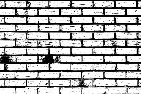 Illustration for Grunge black texture as brick wall shape on white background (Vector). Use for decoration, aging or old layer - Royalty Free Image