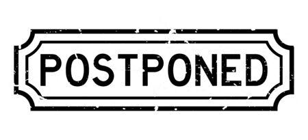 Illustration pour Grunge black postponed word rubber seal stamp on white background - image libre de droit
