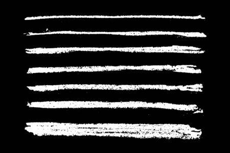 Illustration pour Set of grunge white chalk texture stripe brush on black background - image libre de droit