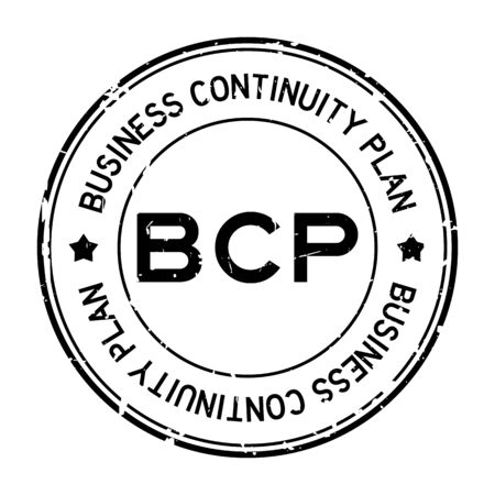 Illustration pour Grunge black BCP (abbreviation business continuity plan) word round rubber seal stamp on white background - image libre de droit