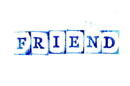 Photo pour Blue ink of rubber stamp in word friend on white paper background - image libre de droit
