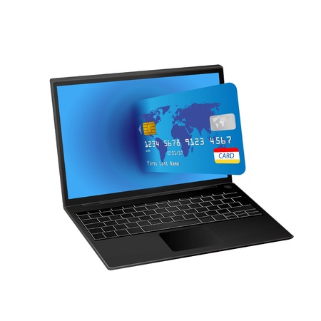 laptop computer with credit card