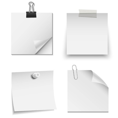 Illustration pour Set of white paper notes with paper clip, tape, and pin - image libre de droit
