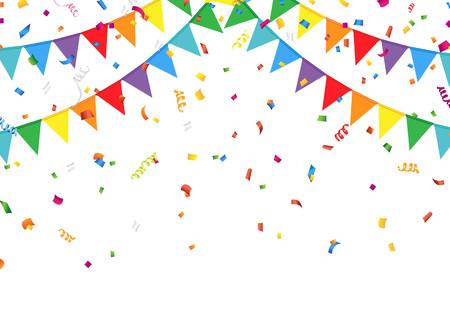 Illustration pour Party flags with confetti - image libre de droit
