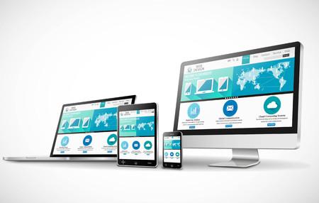 Vektor für Web design concept with modern devices mockup - Lizenzfreies Bild