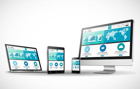 Illustration pour Vector multiple devices and website - image libre de droit