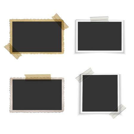Ilustración de Old blank photo frame with tape - Imagen libre de derechos
