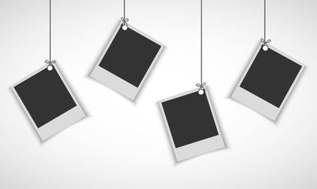 Illustration pour Blank photo frame hanging on line - image libre de droit