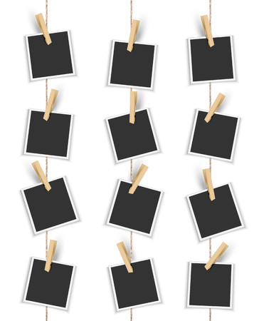 Illustration pour Blank photo frames hanging vertically with clothespin - image libre de droit