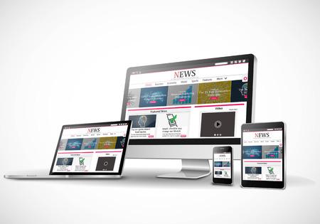 Illustration pour Vector multiple devices with business news internet web site - image libre de droit