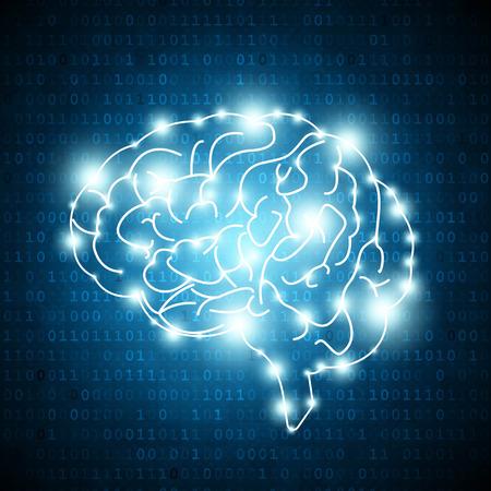 Illustration pour Human brain on matrix number background - image libre de droit