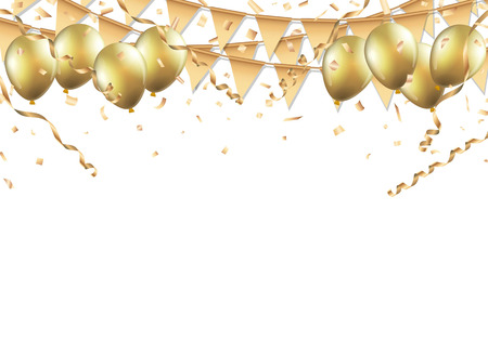 Illustration pour Gold balloons, confetti and streamers on white background. - image libre de droit