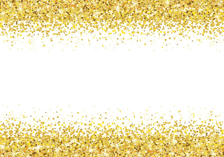 Ilustración de Gold glitter frame on white background Vector - Imagen libre de derechos