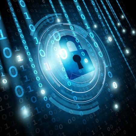 Illustration pour Padlock on matrix binary background. Network security concept. Vector illustration - image libre de droit