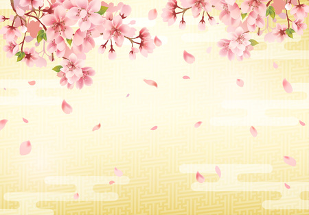 Illustration pour Japanese traditional golden background and cherry blossom. Vector illustration. - image libre de droit